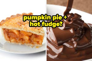 A slice of pumpkin pie next to a bowl of melted hot fudge