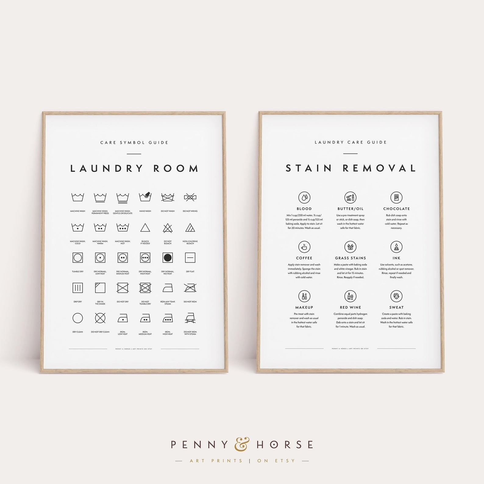 Two printables, one explaining laundry symbols, another explaining how to fix types of stains