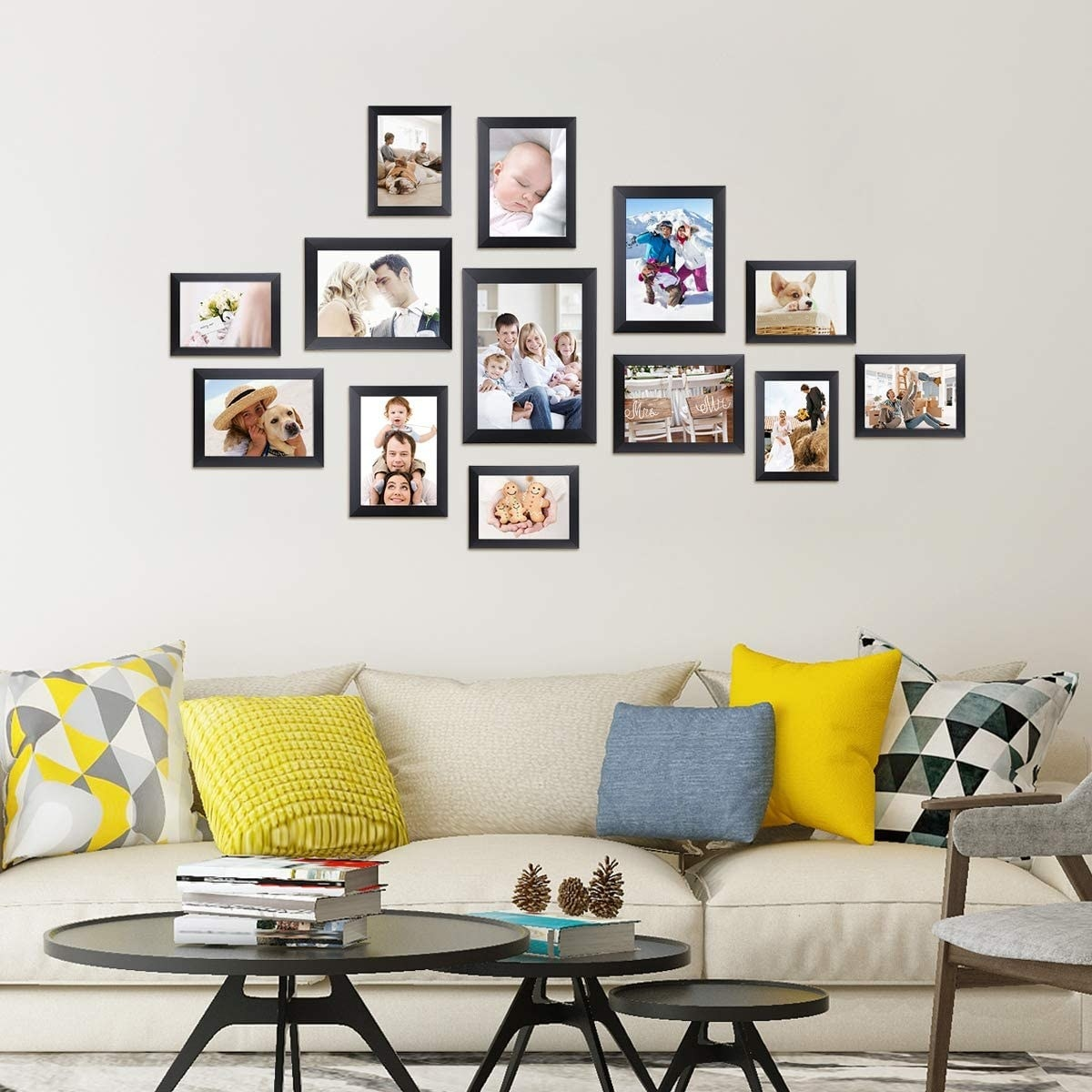 A set of differently sized and oriented photo frames on a wall