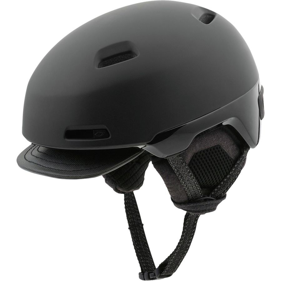 Black helmet with a visor in the front and chin strap