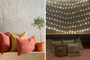 Colorful pillows and string lights