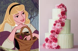 An image of Princess Aurora from Sleeping Beauty next to an image of three tiered vanilla cake with roses up and down it