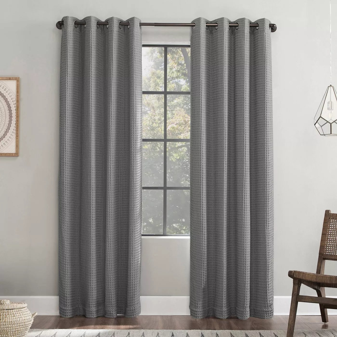 The waffle-textured blackout curtains in gray