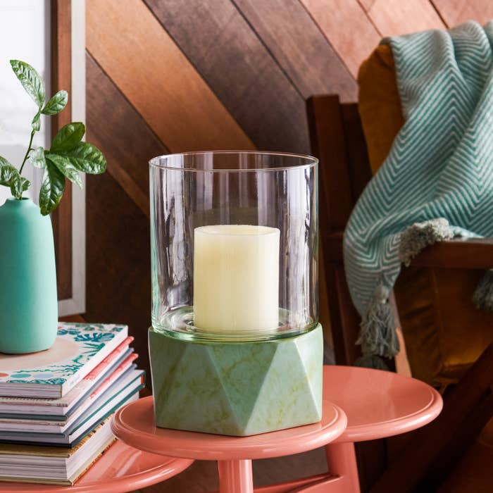 The green candle holder