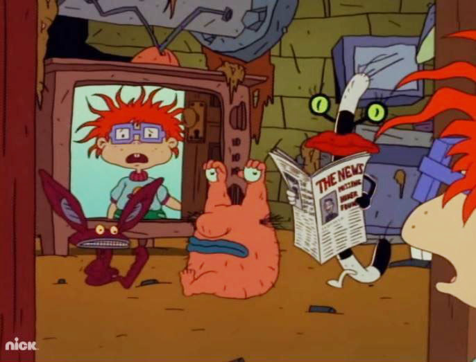 """Chuckie from """"Rugrats"""" is shocked when he walks in on the monsters from """"Aaahh!!! Real Monsters"""""""