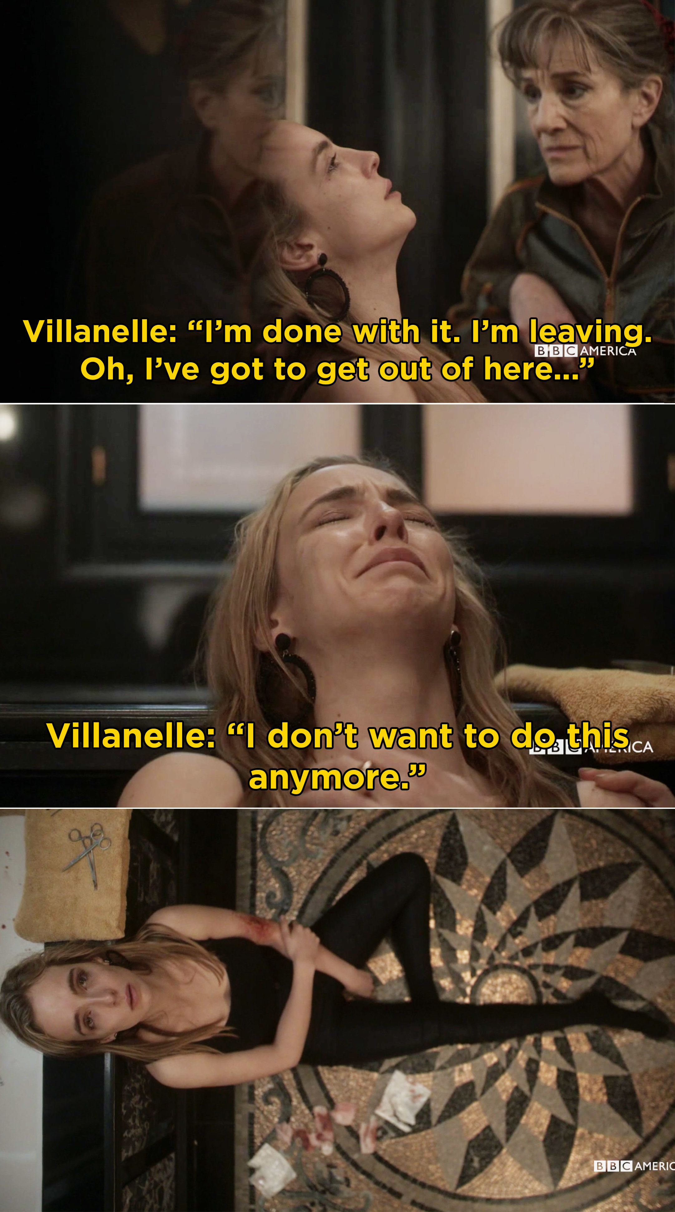 Villanelle crying and saying she doesn't want to be an assassin anymore