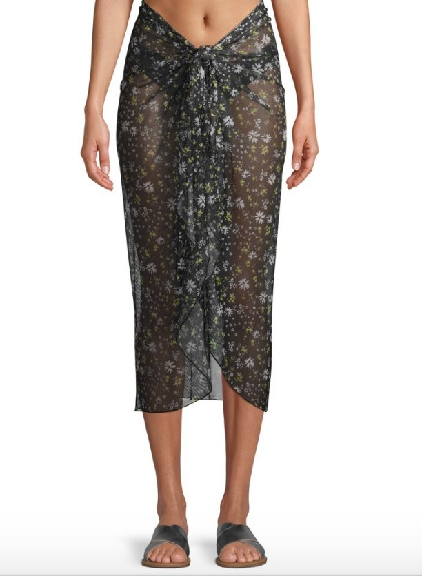 Model wearing black sheer sarong