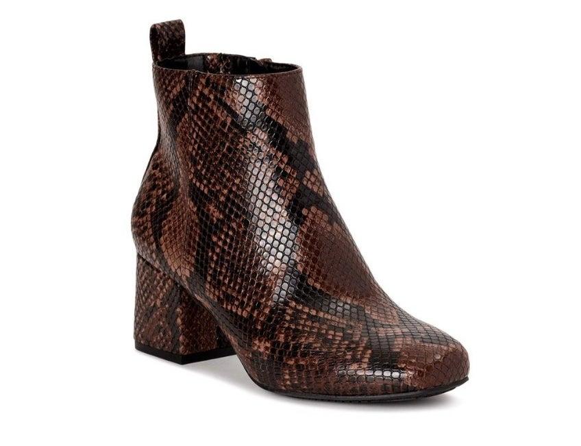 Brown snake skin bootie