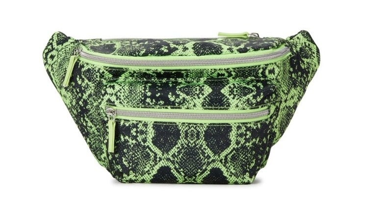 Green snake skin fanny pack with double zipper