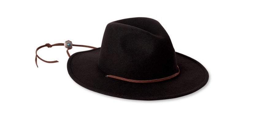 Black flat brim hat with brown tie