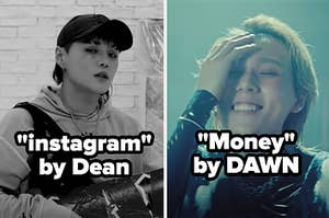Image of Dean from his music video for instagram next to an image of Dawn from his music video for money