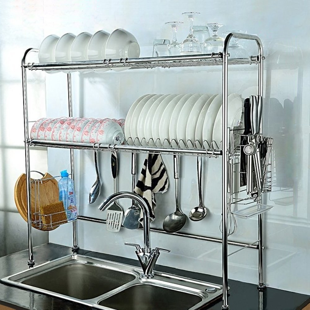 Chrome 2-tier dish rack