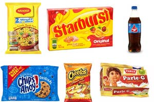 a collage of indian and american snacks