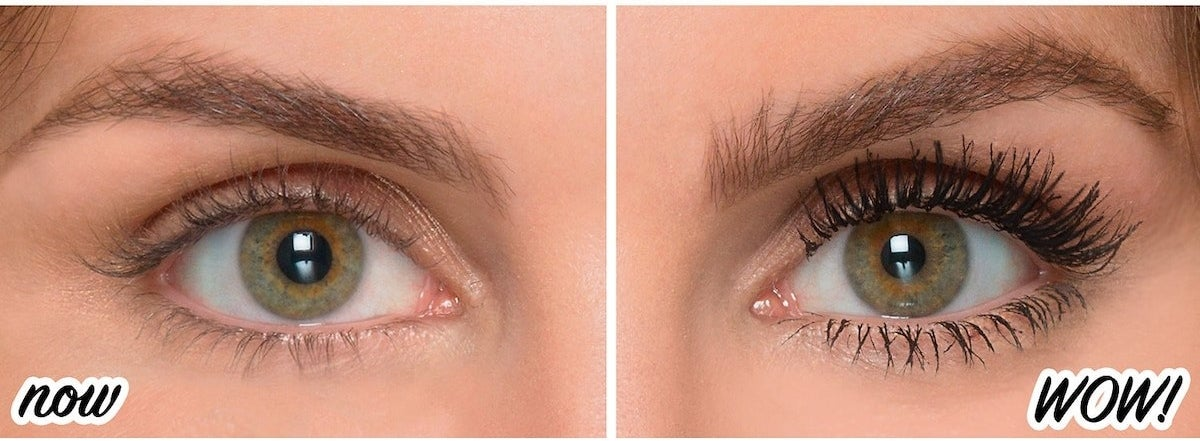 before and after photo of model with short lashes on left and long and black lashes on right