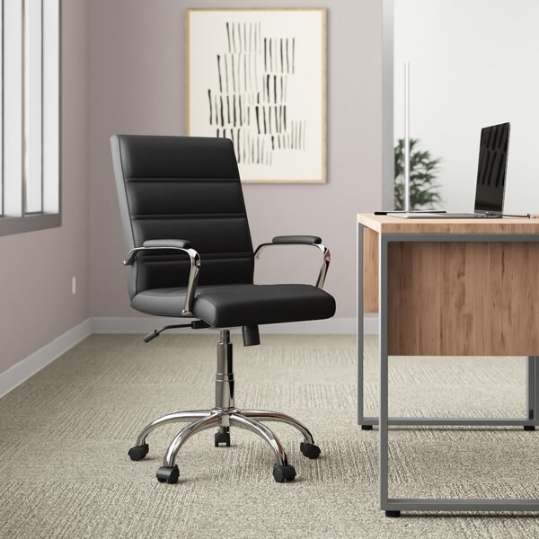 The black leather office chair