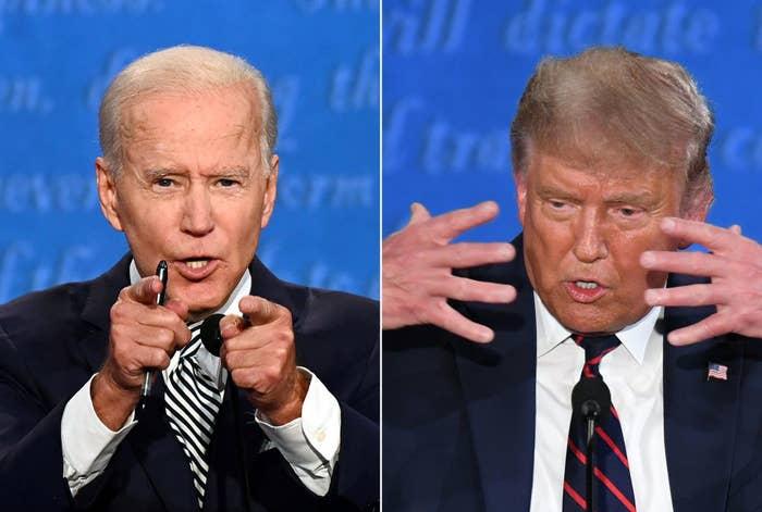 Joe Biden and Donald Trump at the first debate