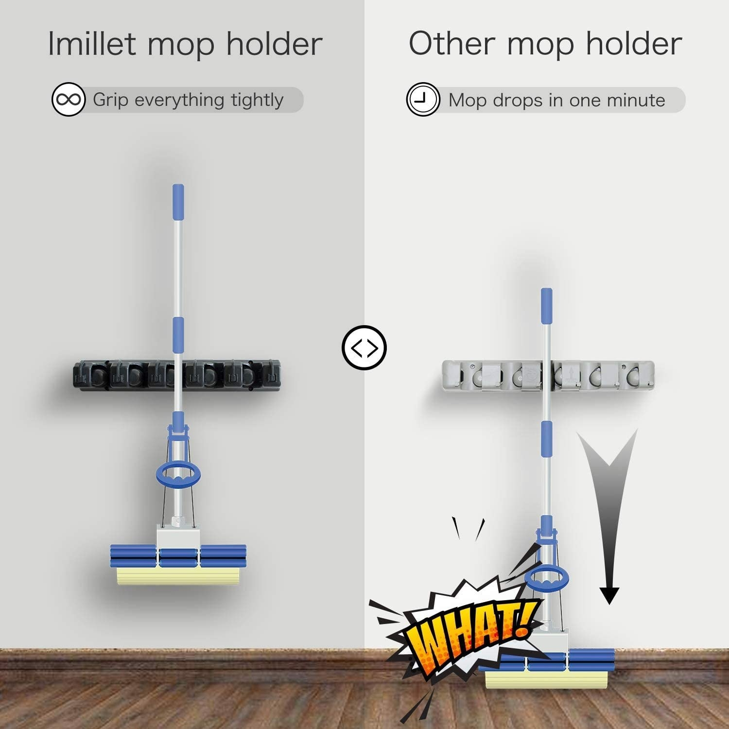 The product suspending a mop // Another brand's product can't hold the mop
