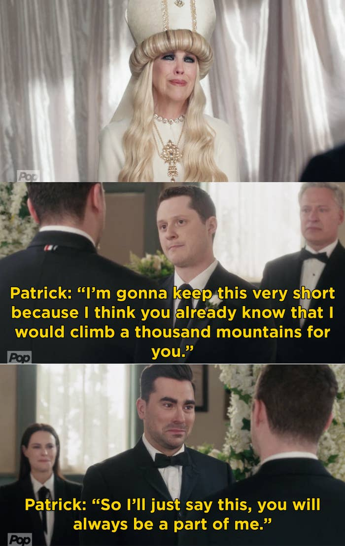 Patrick saying his vows to David at their wedding and Moira crying