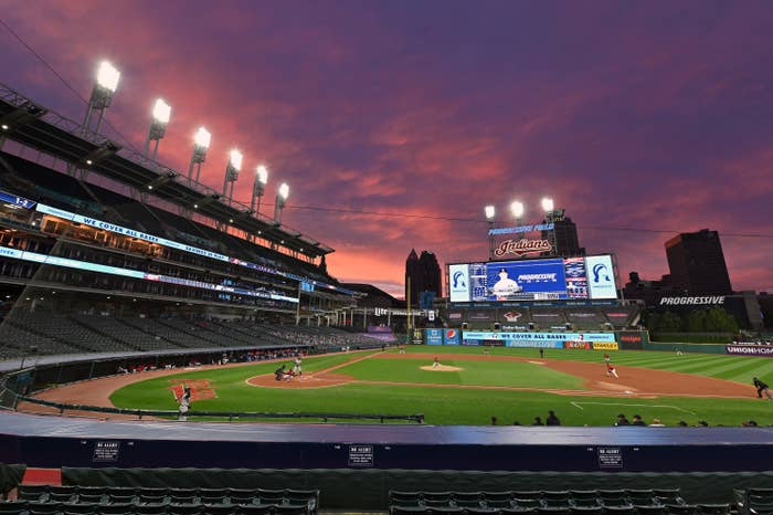 The empty stadium in Cleveland for game one of the Yankees–Indians series