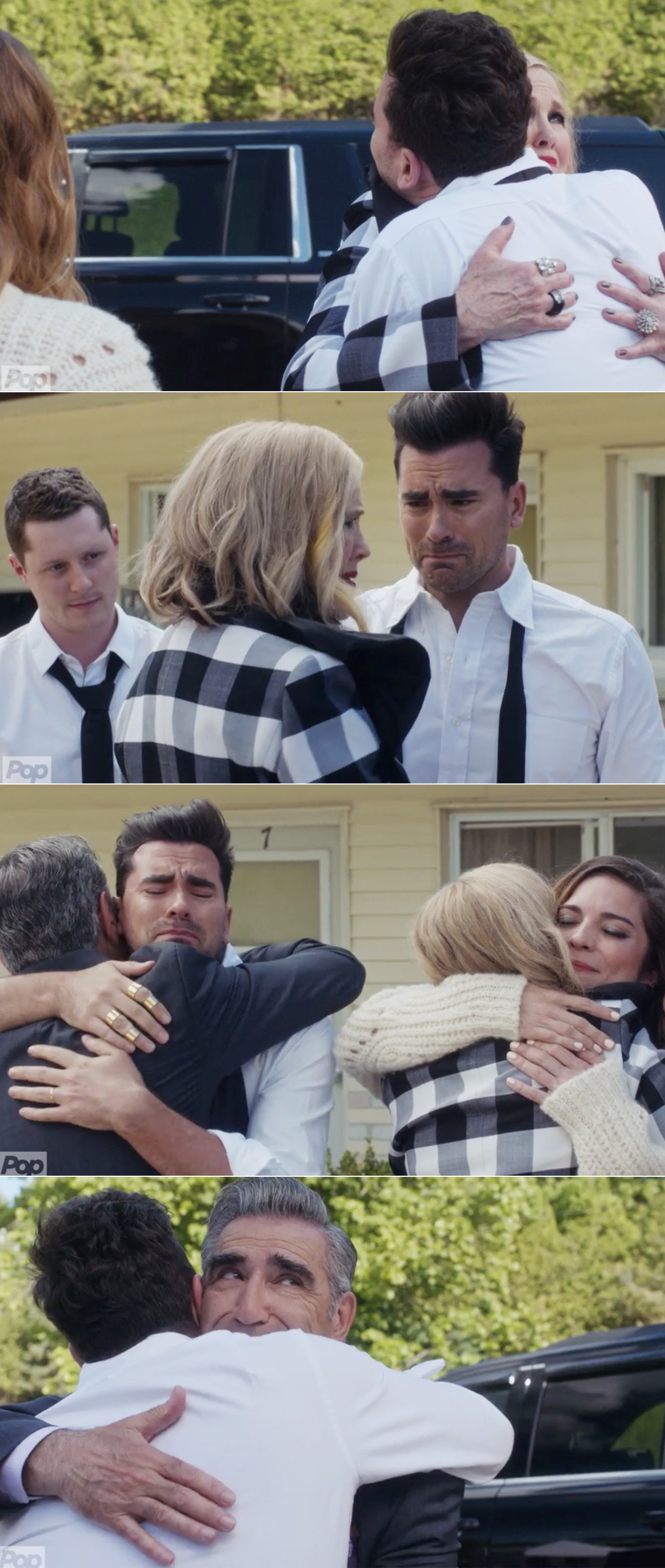 Moira, Johnny, Alexis, and David hugging goodbye