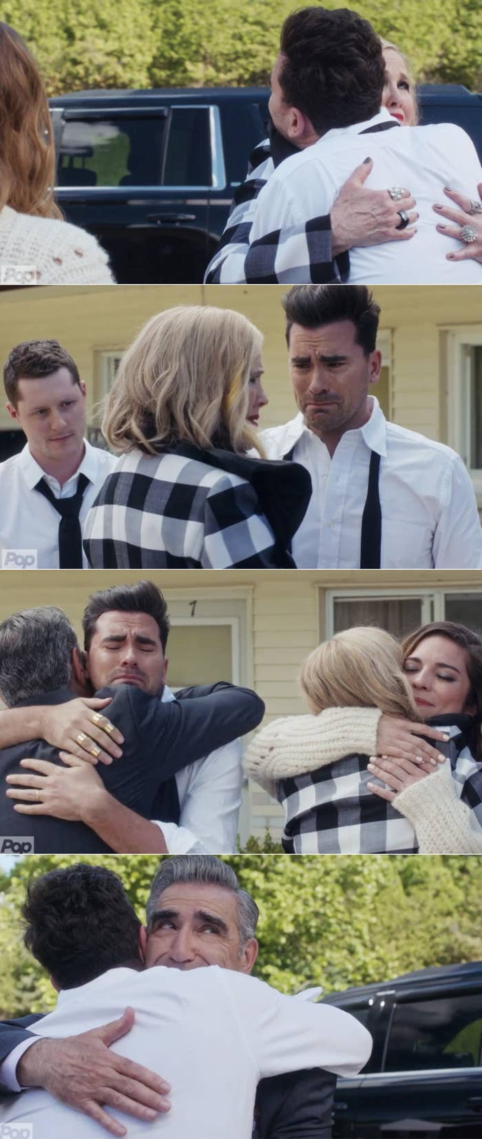 Johnny hugging David and Moira hugging Alexis before they leave Schitt's Creek