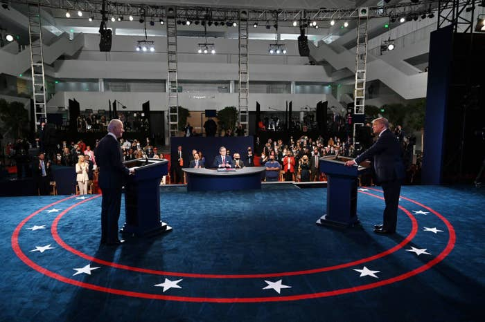 Biden and Trump on the first debate stage