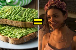 Avocado toast on the left and kiara from outer banks on the right