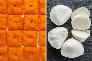 On the left, Cheez-It crackers, and on the right, fresh mozzarella cheese