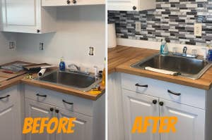 A reviewer before and after of white walls transformed with backsplash tiles