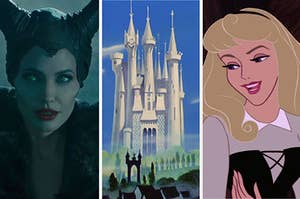 Maleficent on the left, cinderella's castle in the middle, and sleeping beauty on the right