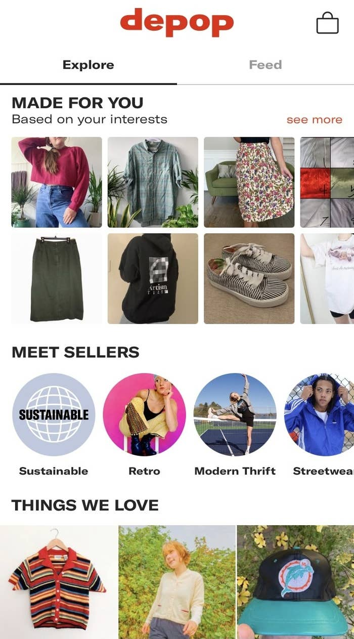 The Depop explore feed offers recommendations based on the user's interests, as well as the things the editorial team loves.