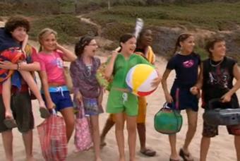 Zoey 101 gang at the beach