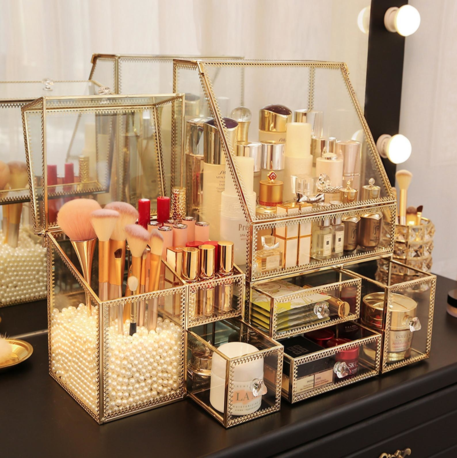 The product with at least 7 sections holding cosmetics