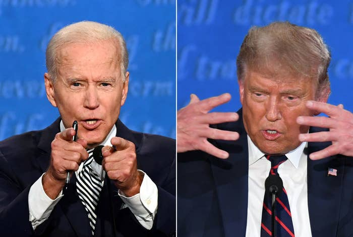 Side-by-side images of Joe Biden and Donald Trump during the first presidential debate of 2020.