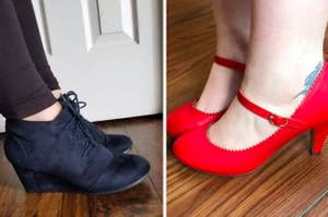 On the left, a reviewer wearing navy wedge booties. On the right, a reviewer in red Mary Jane heels