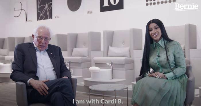 Cardi B having a conversation with Bernie Sanders