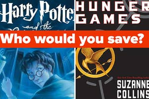 """A """"Harry Potter"""" is on the left with """"Hunger Games"""" on the right labeled, """"Who would you save?"""""""