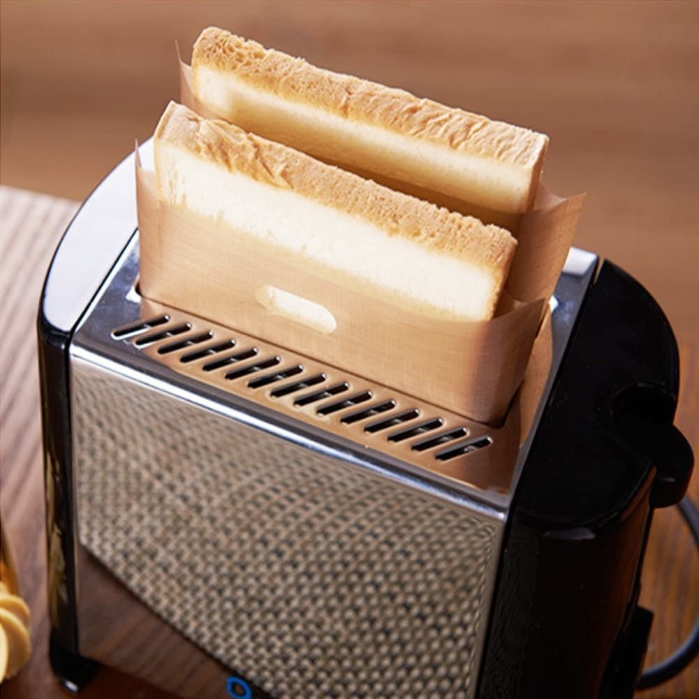 Toast in a bag in a toaster oven