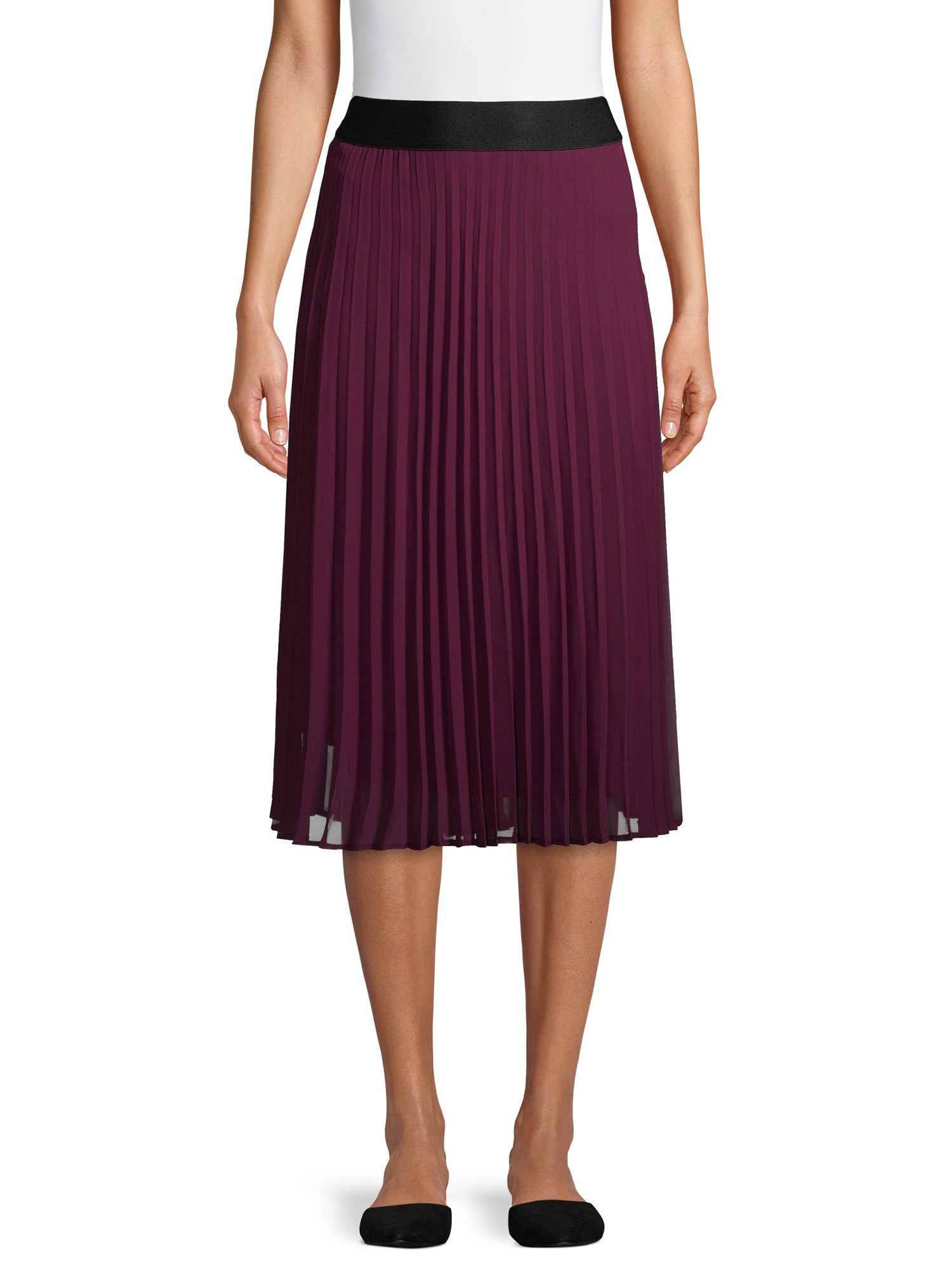 model wearing the burgundy pleated midi skirt