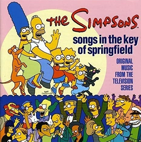 album cover of Songs in the Key of Springfield showing the Simpsons family and other characters