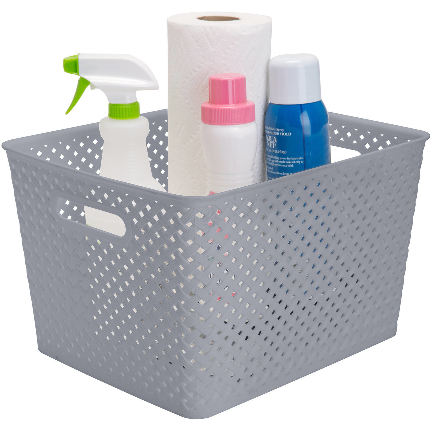 Gray wicker storage bin