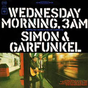 album cover of Wednesday Morning, 3 A.M. showing Simon and Garfunkel at a train platform