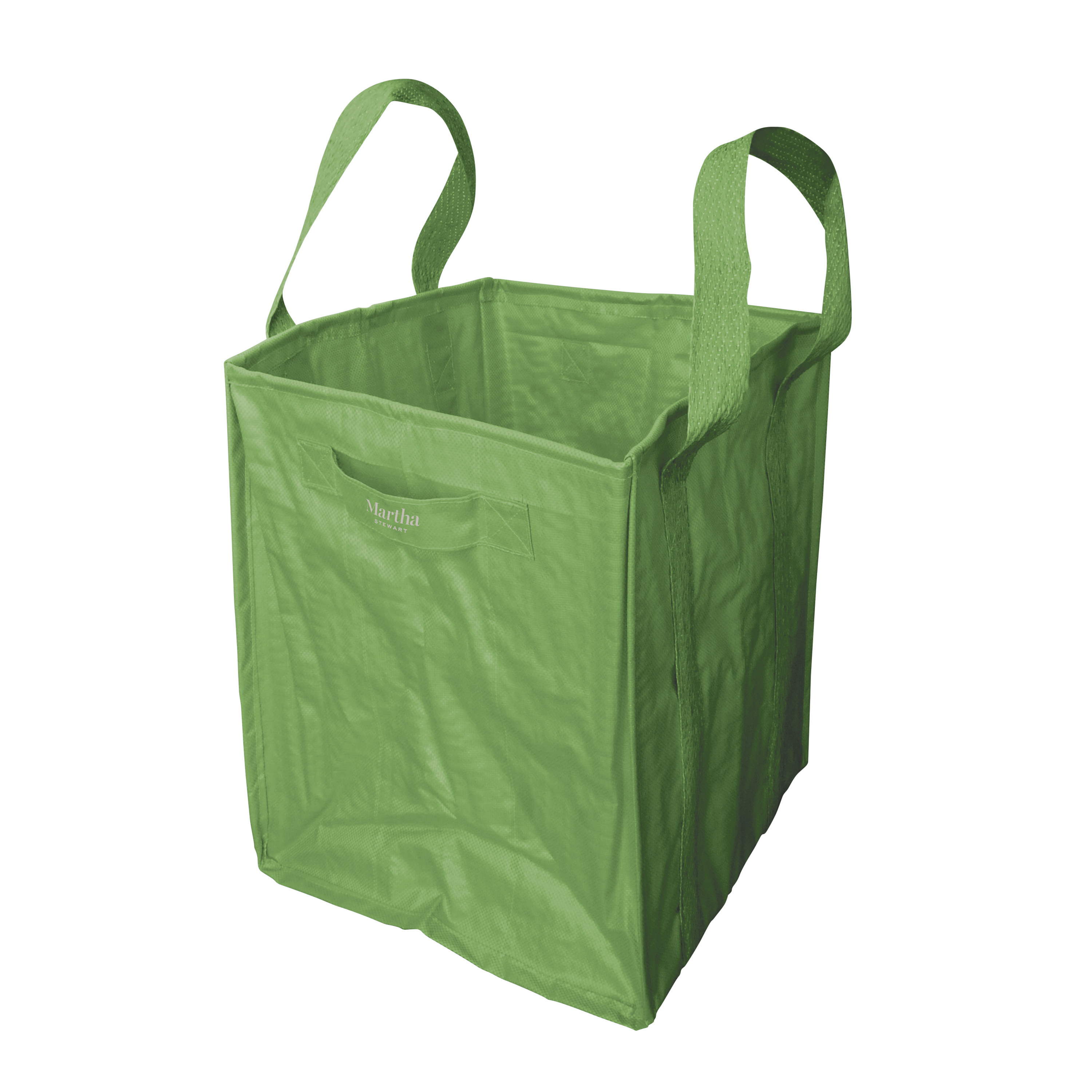 green reusable bag standing up on its own