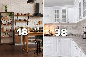 """rustic kitchen with the number """"18"""" and white marble kitchen with the number """"38"""""""
