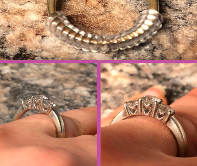 a sequence of images showing the adjuster being used on a ring and it fitting the person's finger better.