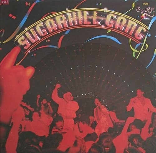 album cover of Sugarhill Gang showing members of the group rapping with mics to a crowd of people