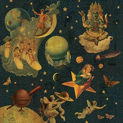 album cover of Mellon Collie and the Infinite Sadness showing different people on stars or clouds in space