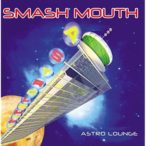 album cover of Astro Lounge with a building sticking out of a planet in space