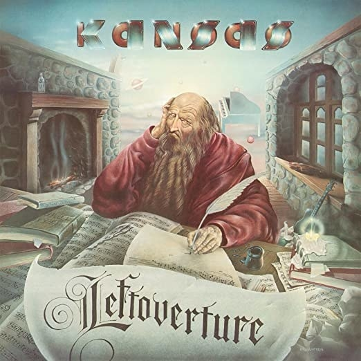 album cover of Leftoverture with an old man writing with a quill