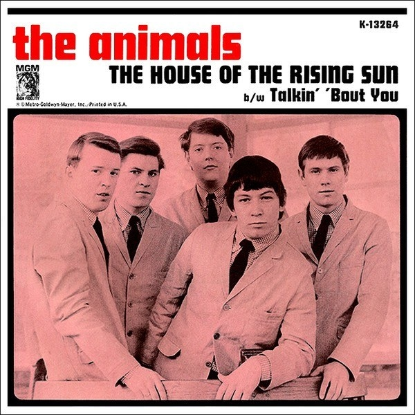 album cover of The Animals showing the band members standing in suits